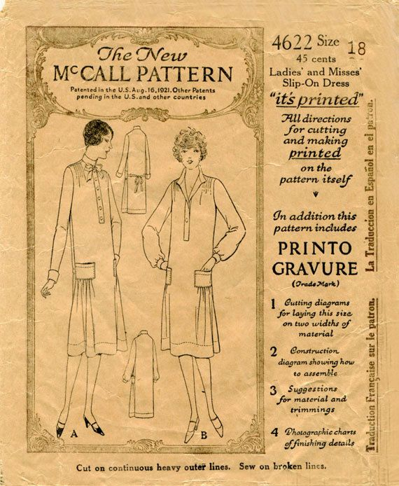 McCall 4622; ca. 1926-1927; Ladies' and Misses' Slip-On Dress (I have sz. 46)