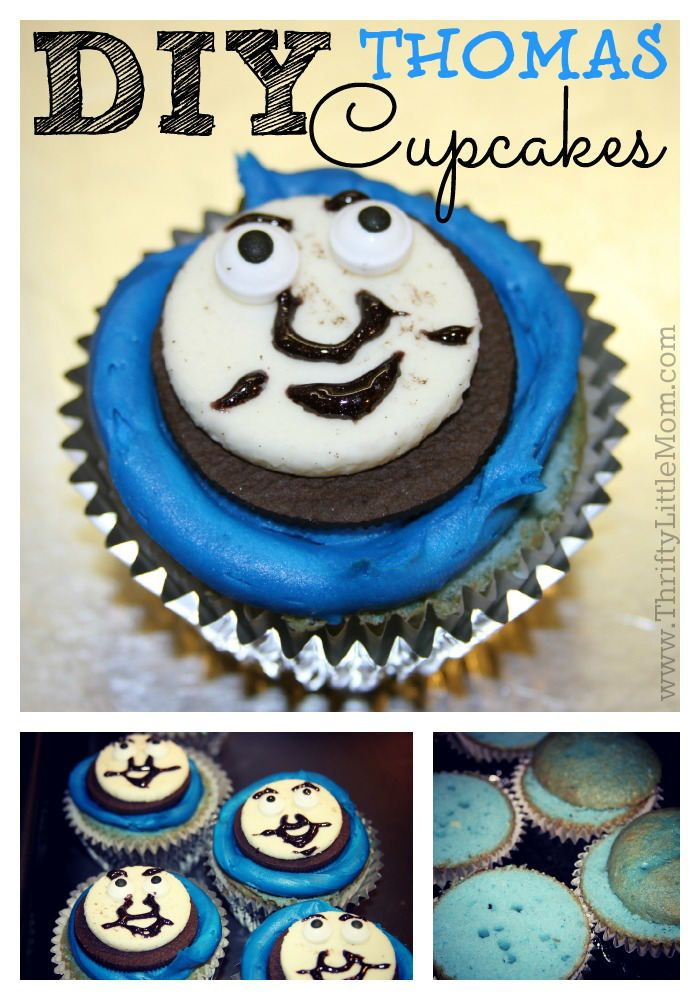 DIY train party Thomas cupcakes. Super simple and fun to make yourself!
