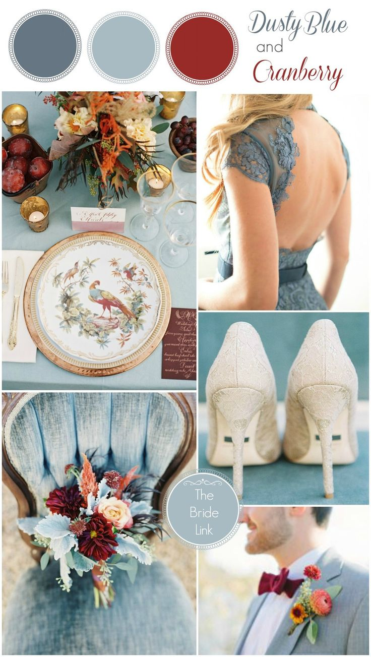 The Bride Link. Cranberry and shades of dusty blue, with gold accents.