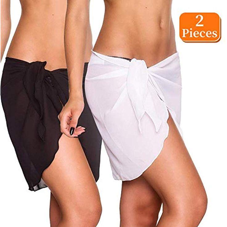 2 Stück Wickeltuch Strand Damen Strandkleid Bikini Rock Sarong Chiffon Badeanzu…
