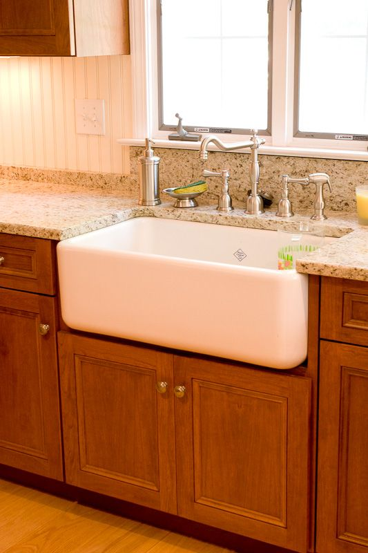 Cherry kitchen cabinets white farm sink glastonbury ct for Cherry and white kitchen cabinets