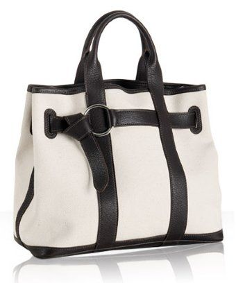 Hermes ivory canvas leather trim 'Garden Party' tote at Bluefly