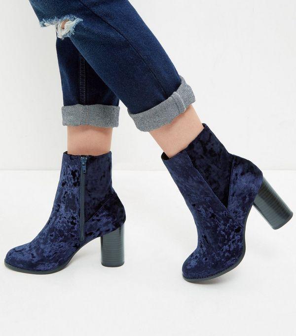 Navy Velvet Block Heel Ankle Boots  | New Look
