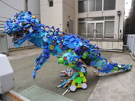 how to make a dinosaur out of recycled materials