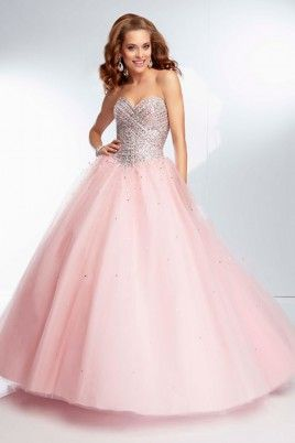 2014 Full Sequined Bodice Ball Gown Dress Tulle Floor Length Corset Tie Back