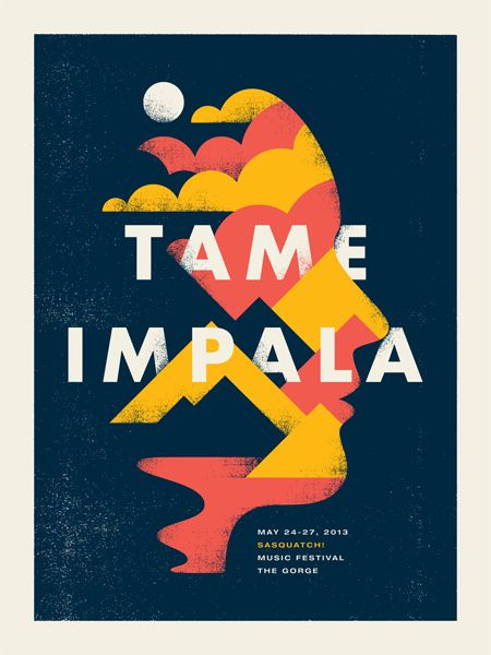 Tame Impala gig poster by Doublenaut http://jungleindierock.tumblr.com/post/68272748861/tame-impala-poster