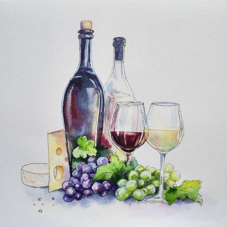 Итальянское вино, или как я себе его представляю) #watercolor, #sketch, #italiancuisine, #wine, #redwine, #whitewine ,#grapes http://w3food.com/ipost/1516063170220213734/?code=BUKI2u-B0Xm