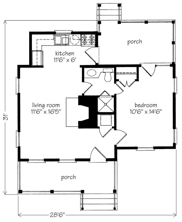 Hilltop - Plan SL-728 - 539 sq ft  - floorplan : southernliving houseplans