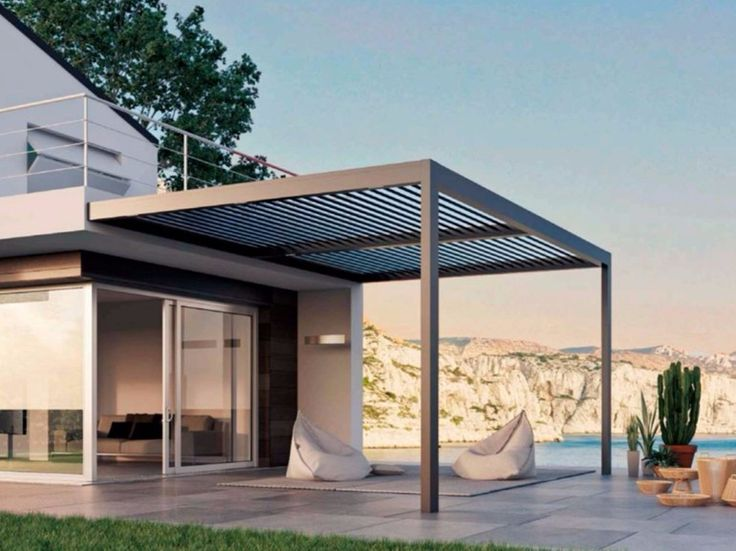 Motorized aluminium pergola with adjustable louvers with built-in lights ALL SEASONS by LIKE BLINDS