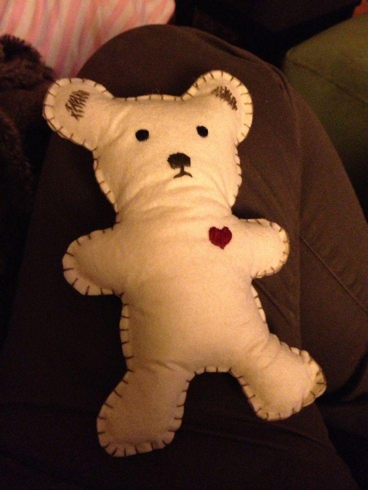 Felt bear for baby gift.