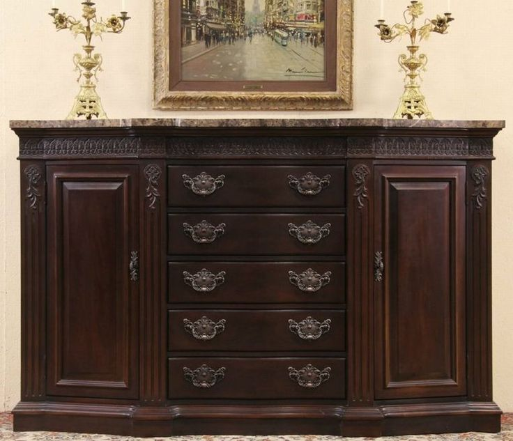 Beautiful And Very Large Marble Top Sideboard Buffet By Bernhardt In A Dark Mahogany Finish
