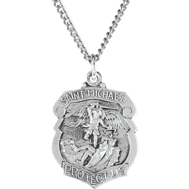 """Sterling Silver 27x21mm St. Michael Medal 14"""" Necklace  #Unbranded"""