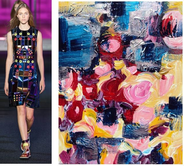 Splash Connect :- Peter Pilotto - Spring 2015 Ready-to-wear - Palette Splash - Metallic Blue / Red / Violet / Pale Yellow / Pink