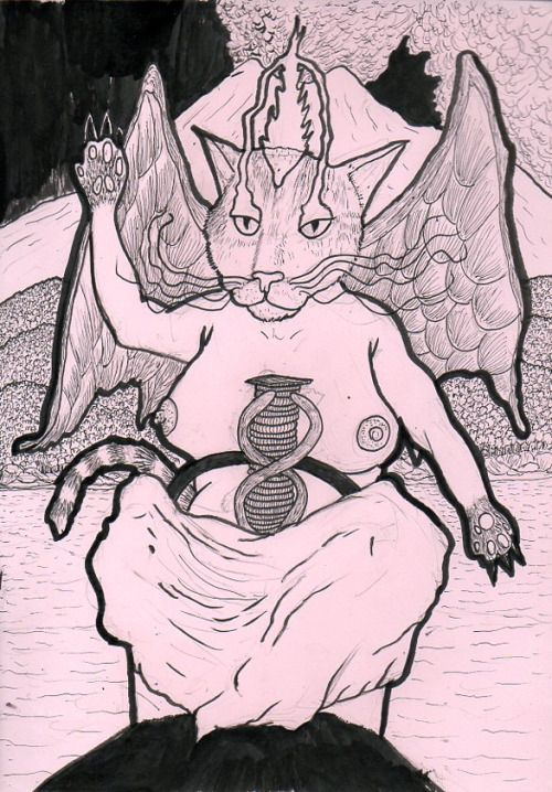 """""""Baphocat"""", 21 x 29 cm, black ink on 180 gm pink paper, made for a friend."""