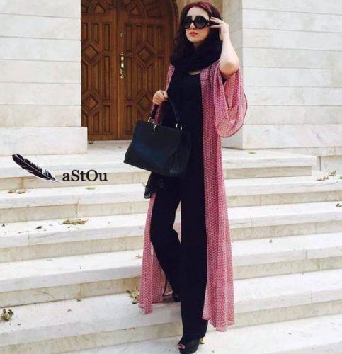 long-blush-cardigan-style- Iranian women fashion trend
