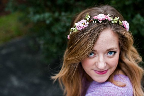 Pink Floral Crown Flower crown. Woodland mauve by rosesandlemons