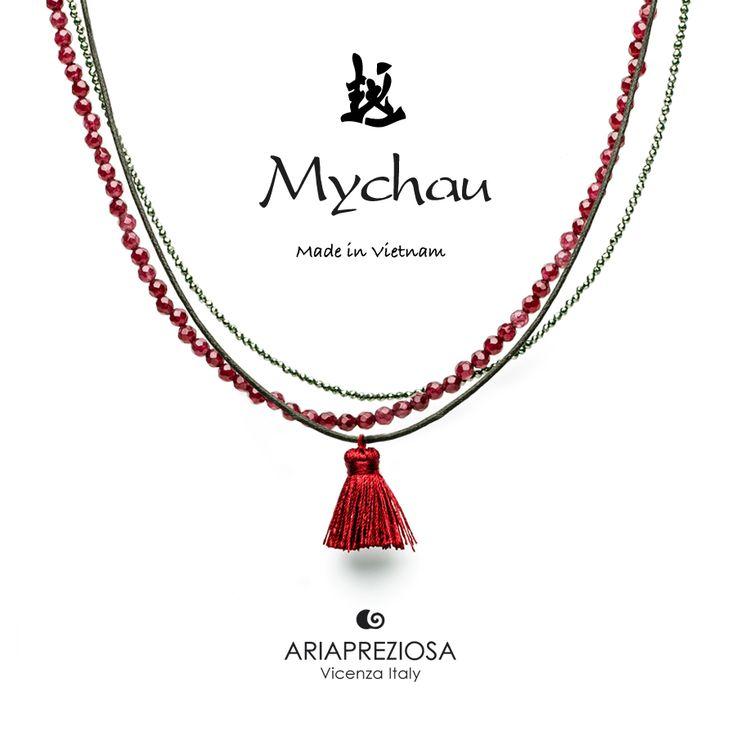 Mychau - Collana Tradizionale Vietnamita Agata Rossa