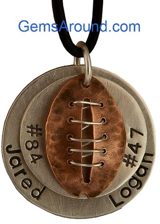 Great football gift!  And you can save 10% now through 10/20 with the code OFFTHECUFF #football #jewelry