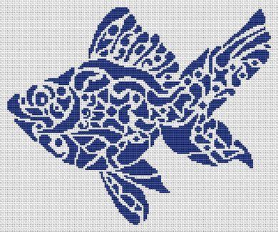 Tribal Fish Cross Stitch Chart - White Willow Stitching Cross Stitch - (Powered by CubeCart)