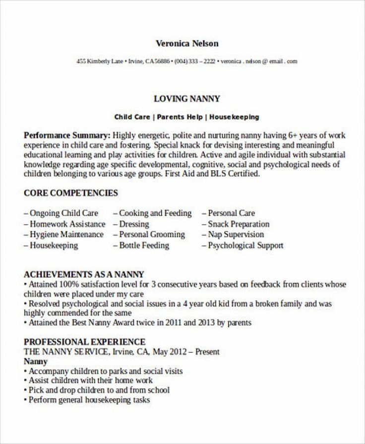 All Things You Should Know about Nanny Resume Basic
