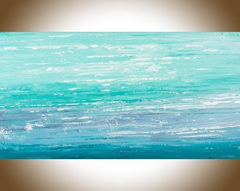 Abstract art abstract painting original seascape painting on canvas wall art wall decor wall hanging blue turquoise teal white byqiqigallery