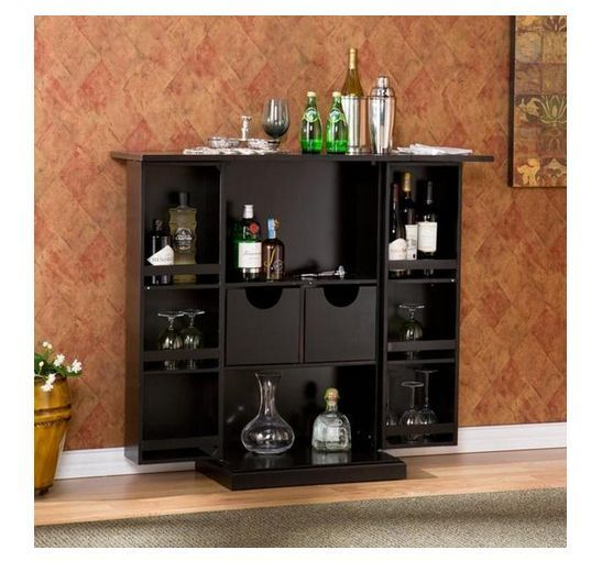 Fold Away Bar Cabinet Black Modern Liquor Wine Glass