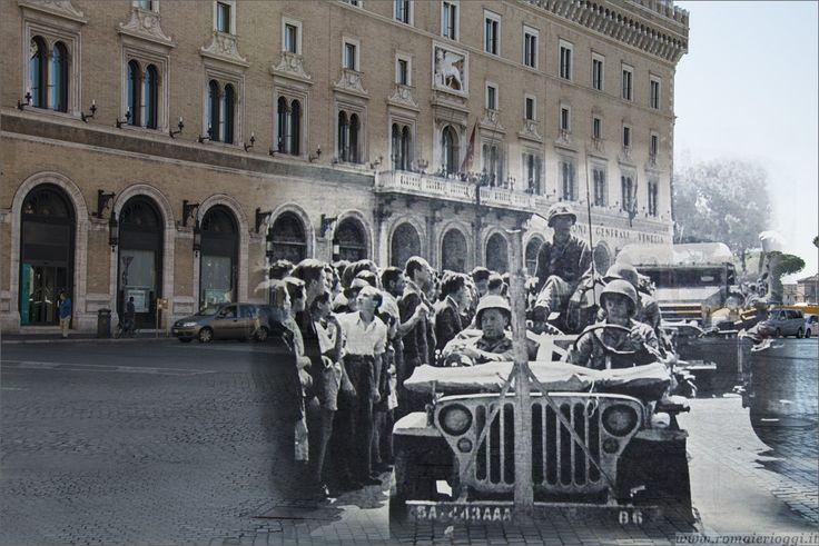 Americani a Piazza Venezia il giorno della liberazione di Roma
