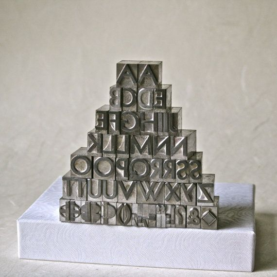 Letterpress Type Alphabet with Double Vowels by ReminiscencePapers $52 + letterpress + alphabet + printing + punctuation