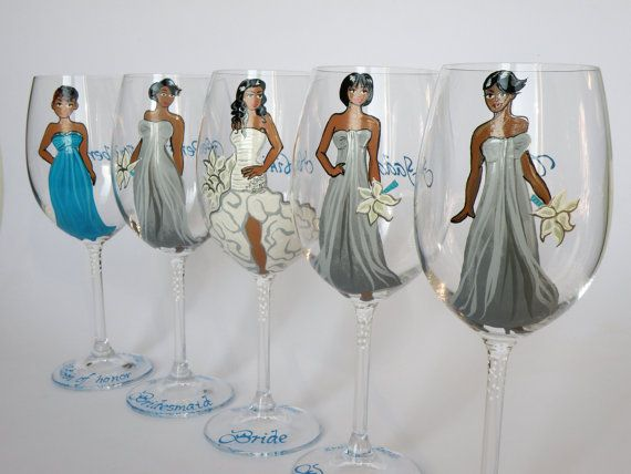 SALE Bridal Party Wine or champagne Glasses by pastinshs on Etsy, $19.00