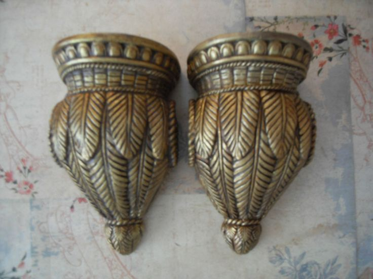 PAIR CURTAIN ROD SCONCES VINTAGE STYLE~ TROPICAL  #Cottage