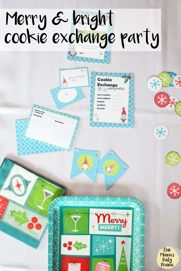 Merry and bright cookie exchange party / Free cookie swap printables in modern red, lime green, and turquoise blue
