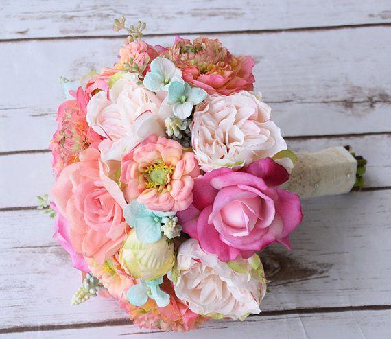 Bouquet de peonías de seda, Ranunculus y Zinnias Coral melocotón Flores boda ramo de novia - menta huevo de Robbin Aqua