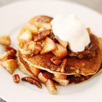 Apple Cinnamon Pancakes You'll be amazed at how delicious these flour-free pancakes are! Calories - 161 Carbohydrates - 9g Fat - 13g Protein - 4g Sodium - 22mg Dietary Fiber - 2g
