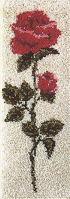"""American Beauty 16"""" x 40"""" (40.6x101.6 cm) latch hook rug kit. Kit comes complete with heat transfer pattern on 3.3 mesh latch hook canvas, yarn is 2 x 3 ply pre-cut acrylic rug yarn (equivalent to 6 ply) and complete instructions. Requires latch hook tool to complete."""