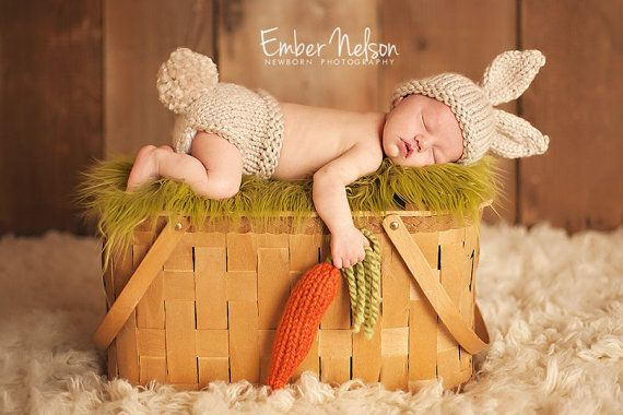 Baby Bunny Hat, Newborn Photo Prop Set, Easter Rabbit, 0-3 Months Size, Chunky Infant Hat, Diaper Cover - CARROT included, U Choose Color