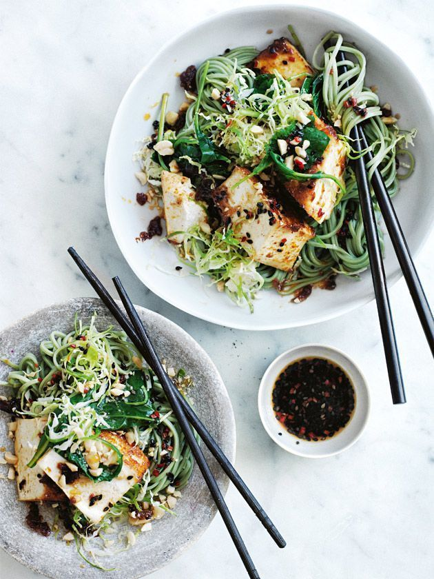 Baked chilli tofu and kale noodles with black sesame dressing.