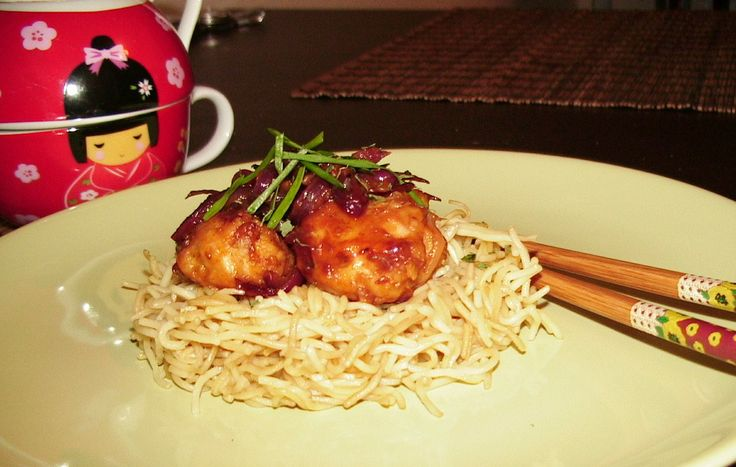 Garlic- Ginger Chicken.  Garlic- Ginger Chicken  with egg noodles, try it with rice and see how awesome this recipe is.....:)
