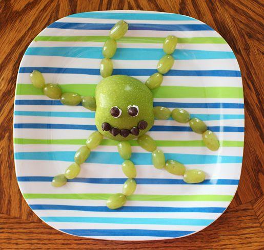 Apple + grapes cut in half = octopus.
