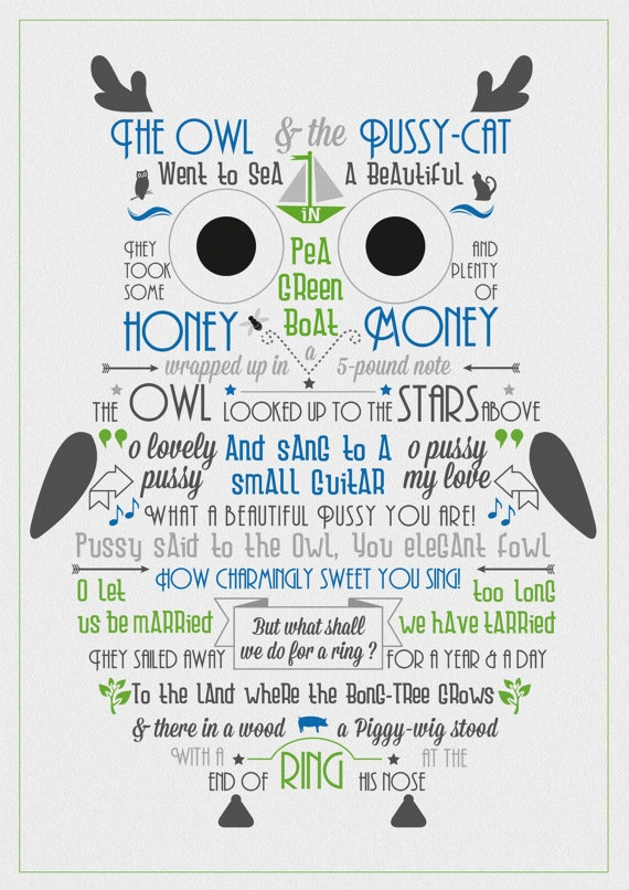 Owl and the pussycat card fonts