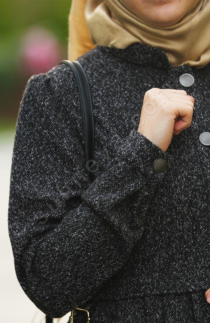 Pileli Pıtırcık Pardesü - Siyah