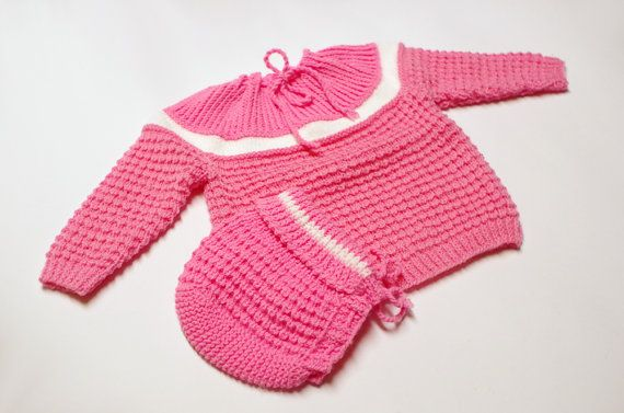 Baby sweater & hat set, pink, 4 to 6 months