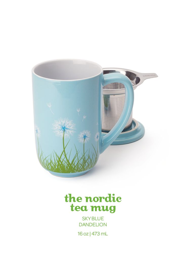 In a fresh light blue, this spring mug comes printed with a dandelion motif.