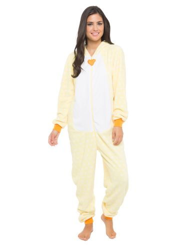 A spot printed coral fleece onesie which zips at the front and has chicken face embroidery on the hood.