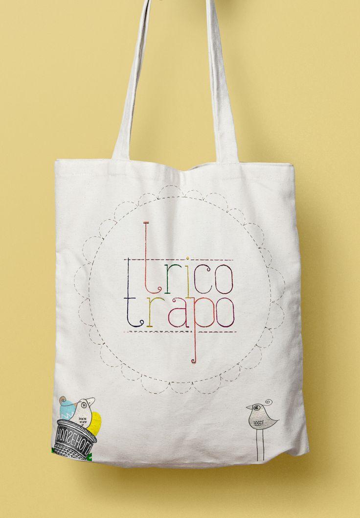 Bolsa Trico Trapo con Logo e ilustración de pajaritos por La Mottora