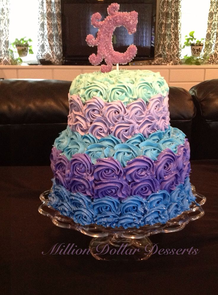 Ombr 233 Rosette Tiered Cake Tiered Cakes Tiered Cakes