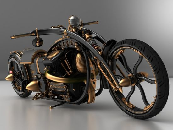 Black Widow steampunk chopper to scorch the road in style