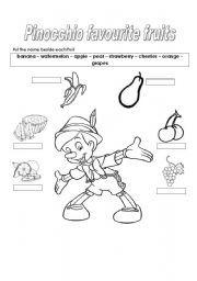 English Worksheets: Pinocchio fruits
