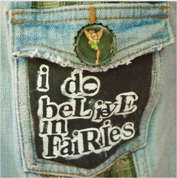 Perfect Punk Peter Pan Cosplay - Tinkerbell button and patch