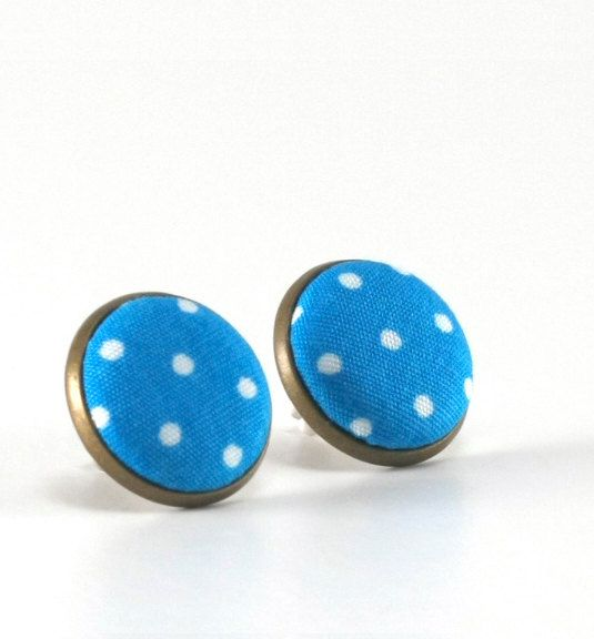 Blue Stud Earrings - Cyan Earring Studs - White Polka Dots Fabric Buttons  - Fresh Jewelry - Blue Country Earring Posts