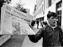 http://www.thecanadianencyclopedia.ca/en/article/october-crisis/ The war measures act was introduced in 1970 at the time of the october crisis. It changed lives of Canadians as the laws were now a lot stricter than previously.